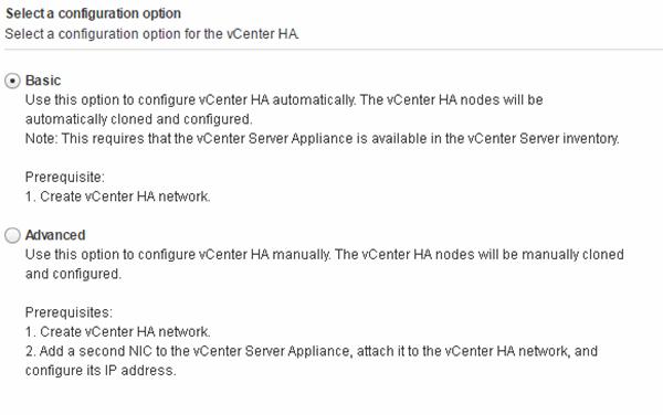 VCenter HA configuration options.