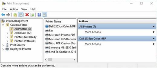 Druckerverwaltung unter Windows.