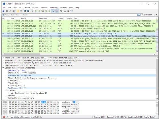 Captura de tela do Wireshark