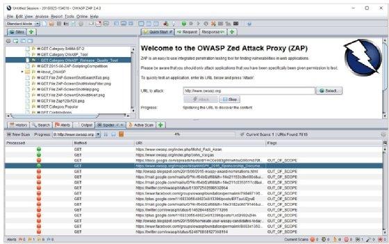 Captura de tela do Zed Attack Proxy