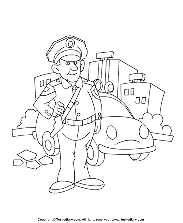 Preschool Policeman Coloring Pages Sketch Coloring Page