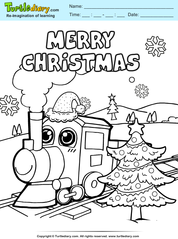 Christmas Train Coloring Pages : christmas, train, coloring, pages, Christmas, Train, Coloring, Sheet, Turtle, Diary