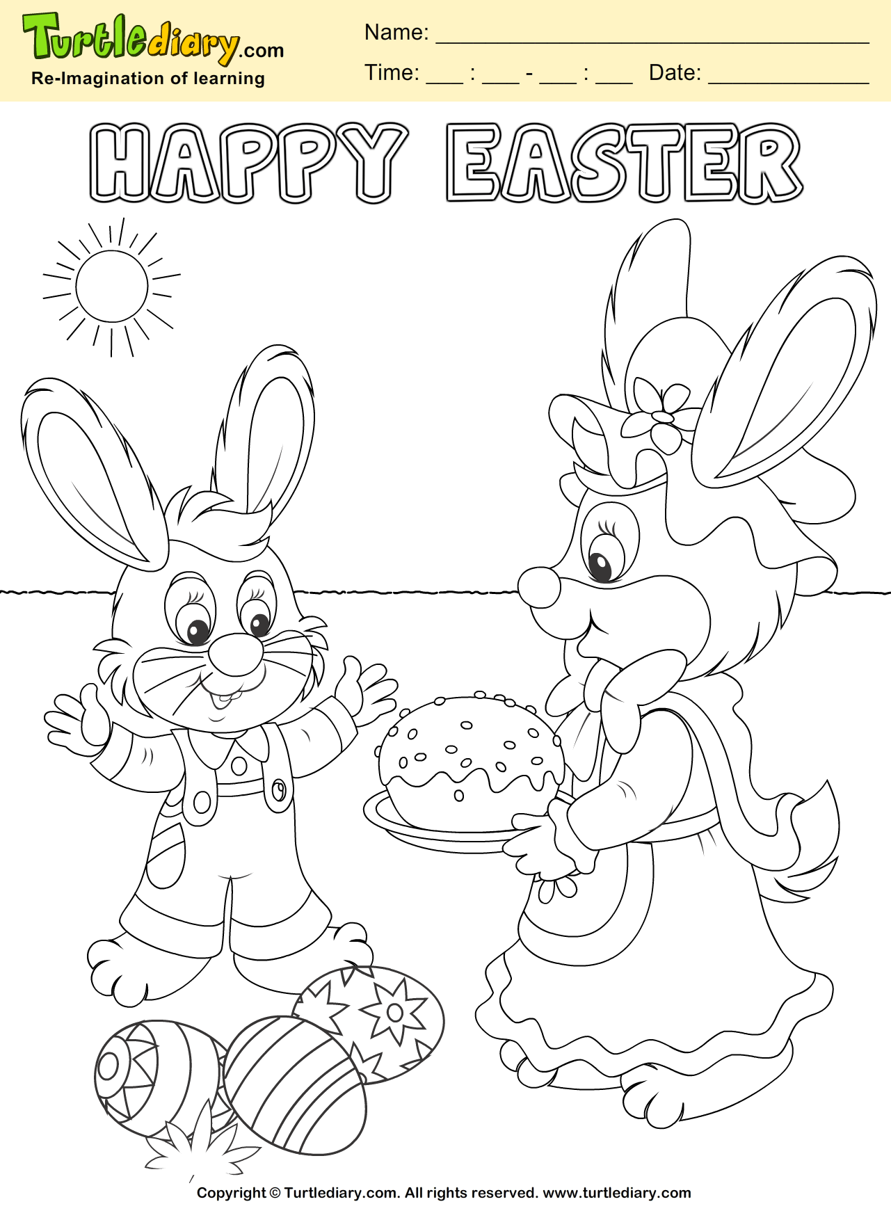 Bunny And Easter Egg Coloring Sheet