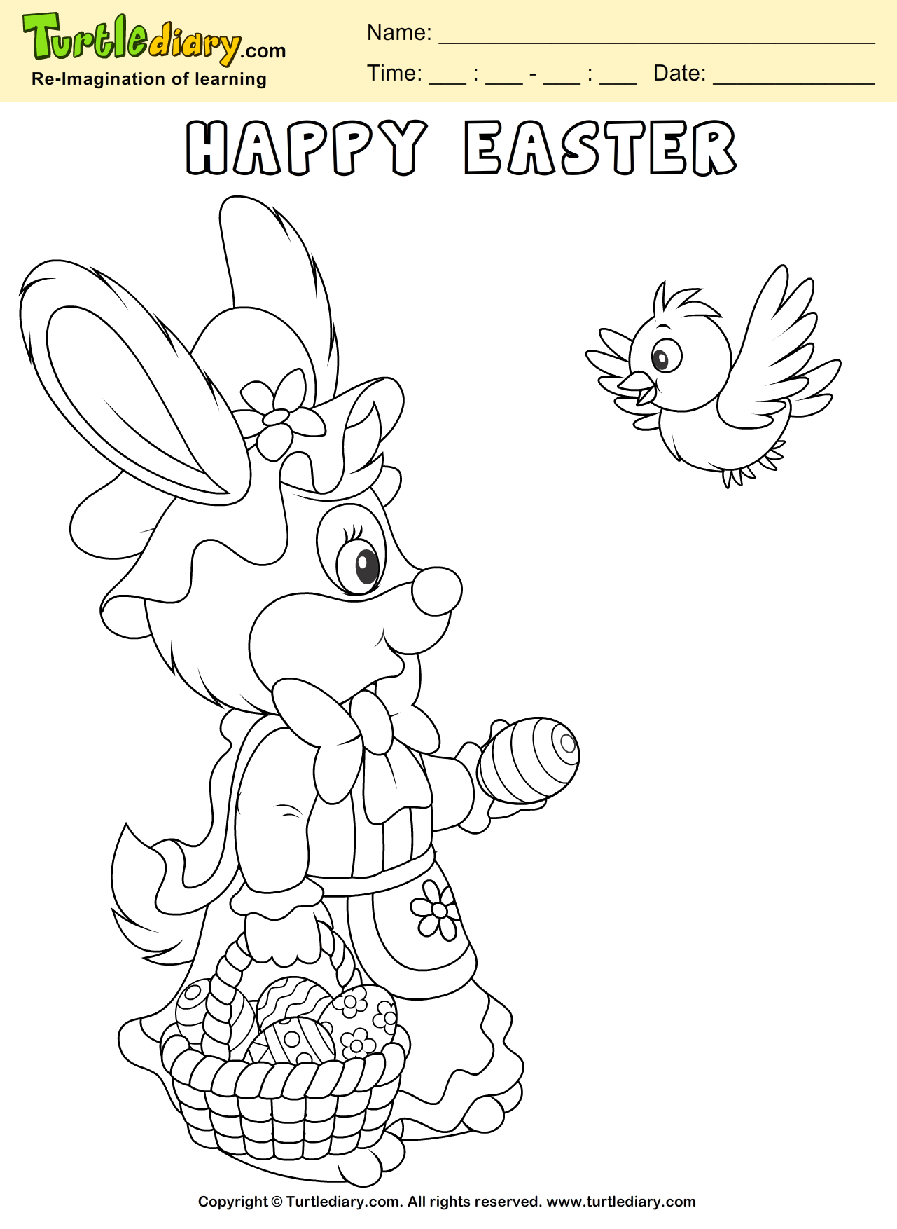 Easter Bunny And Bird Coloring Sheet