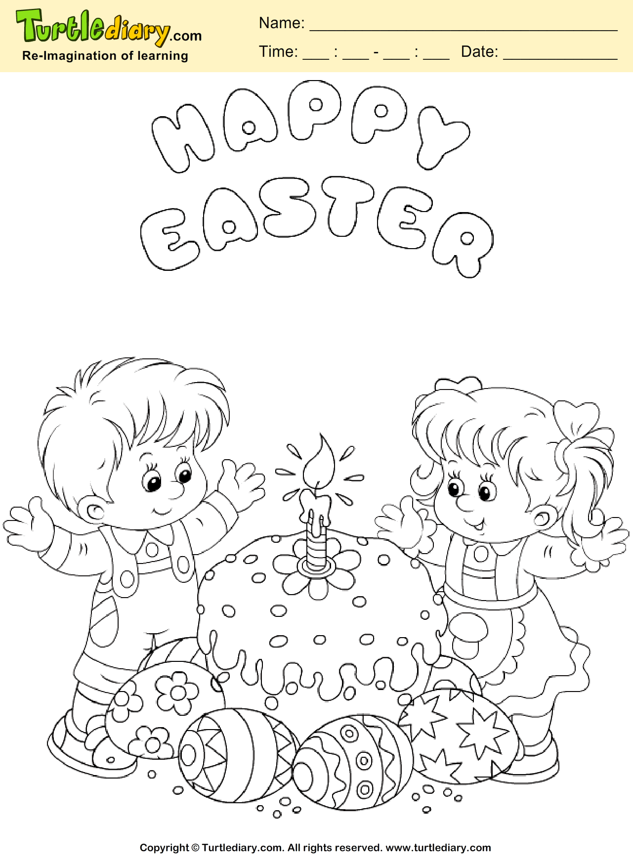 Easter Cake Coloring Sheet