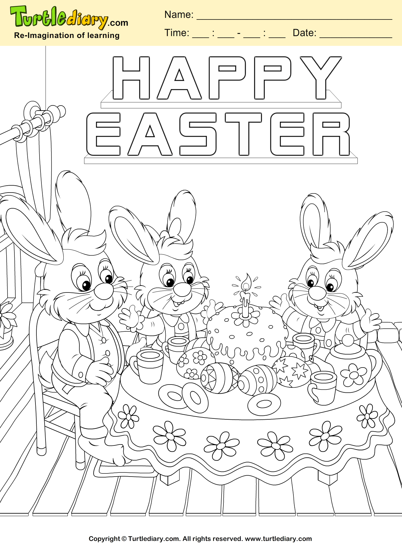 Happy Easter Bunny Coloring Sheet