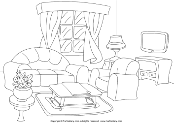 Simple Living Room Coloring Pages