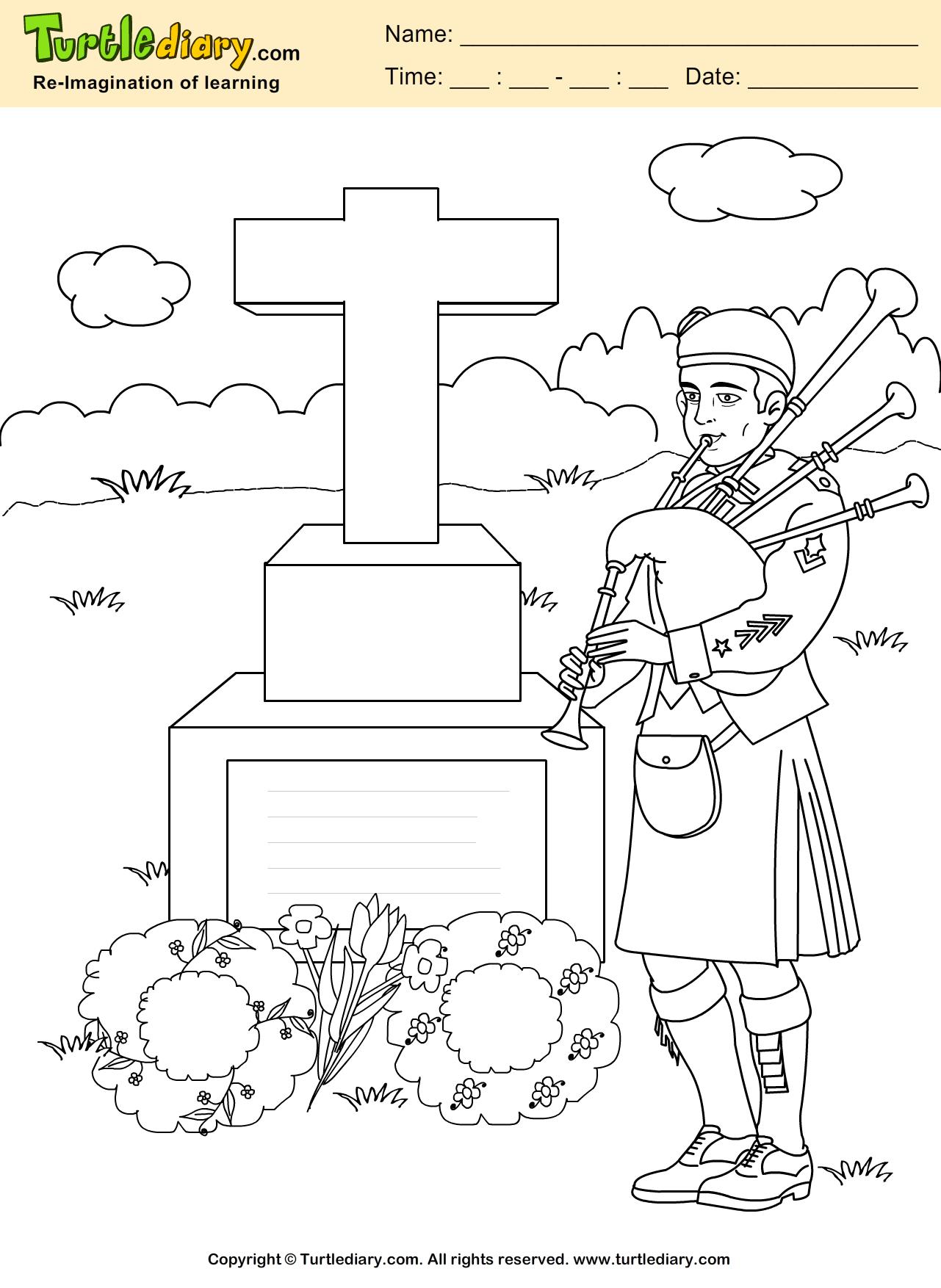Memorial Coloring Sheet