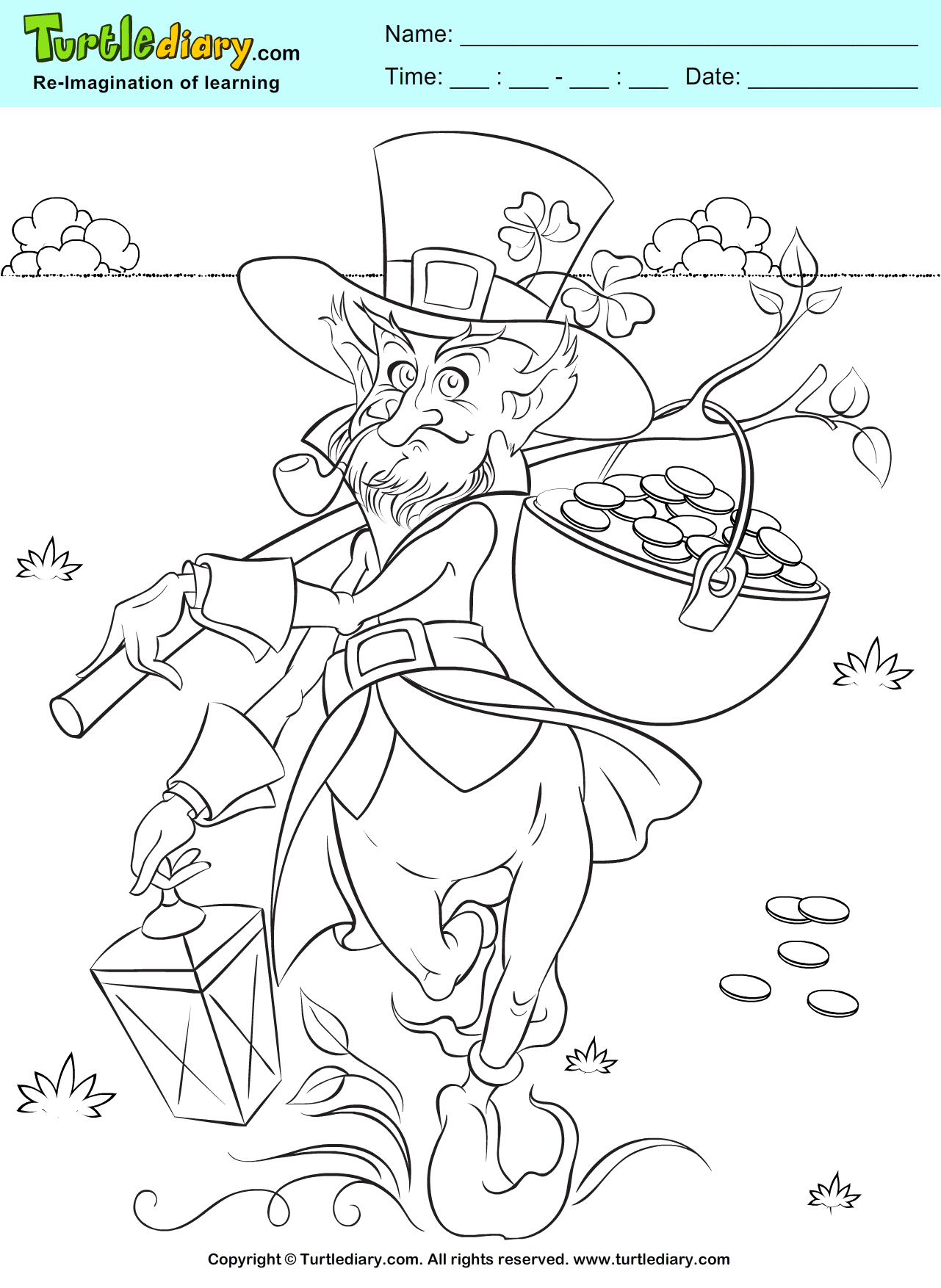 Leprechaun And Gold Pot Coloring Sheet