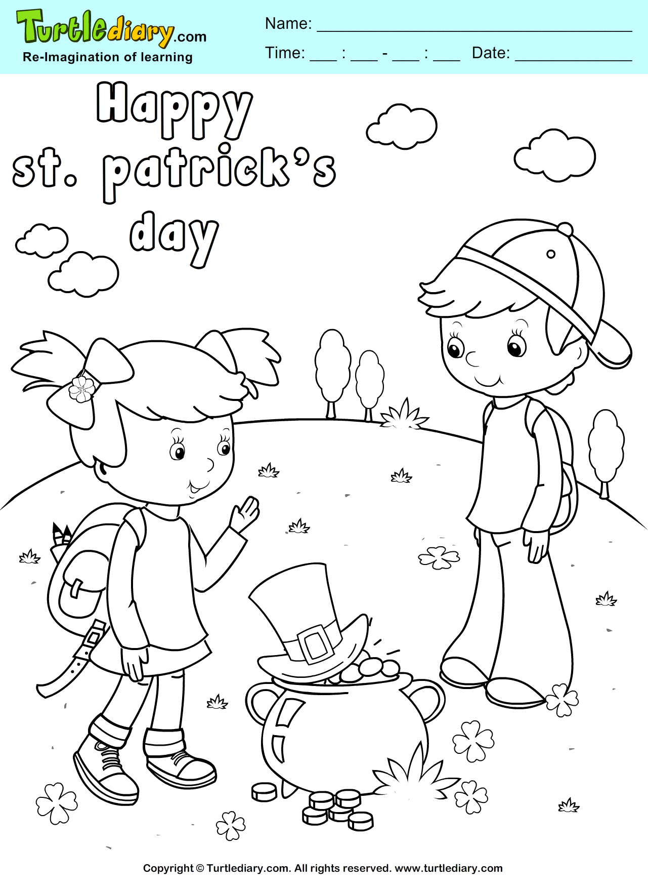 Leprechaun Hat And Gold Pot Coloring Sheet