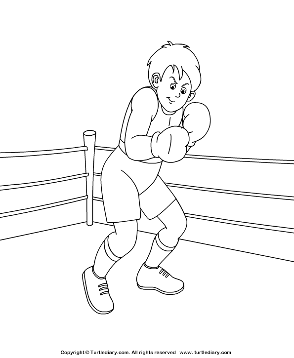 boxing coloring sheet  turtle diary