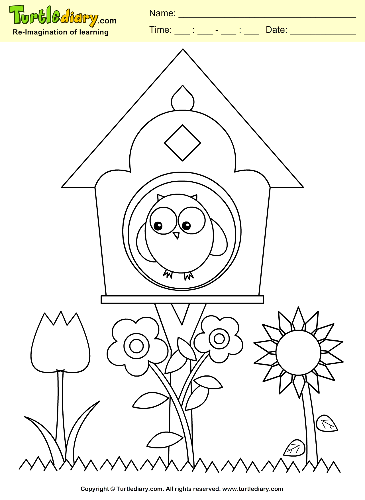 hight resolution of Bird House Coloring Sheet   Turtle Diary
