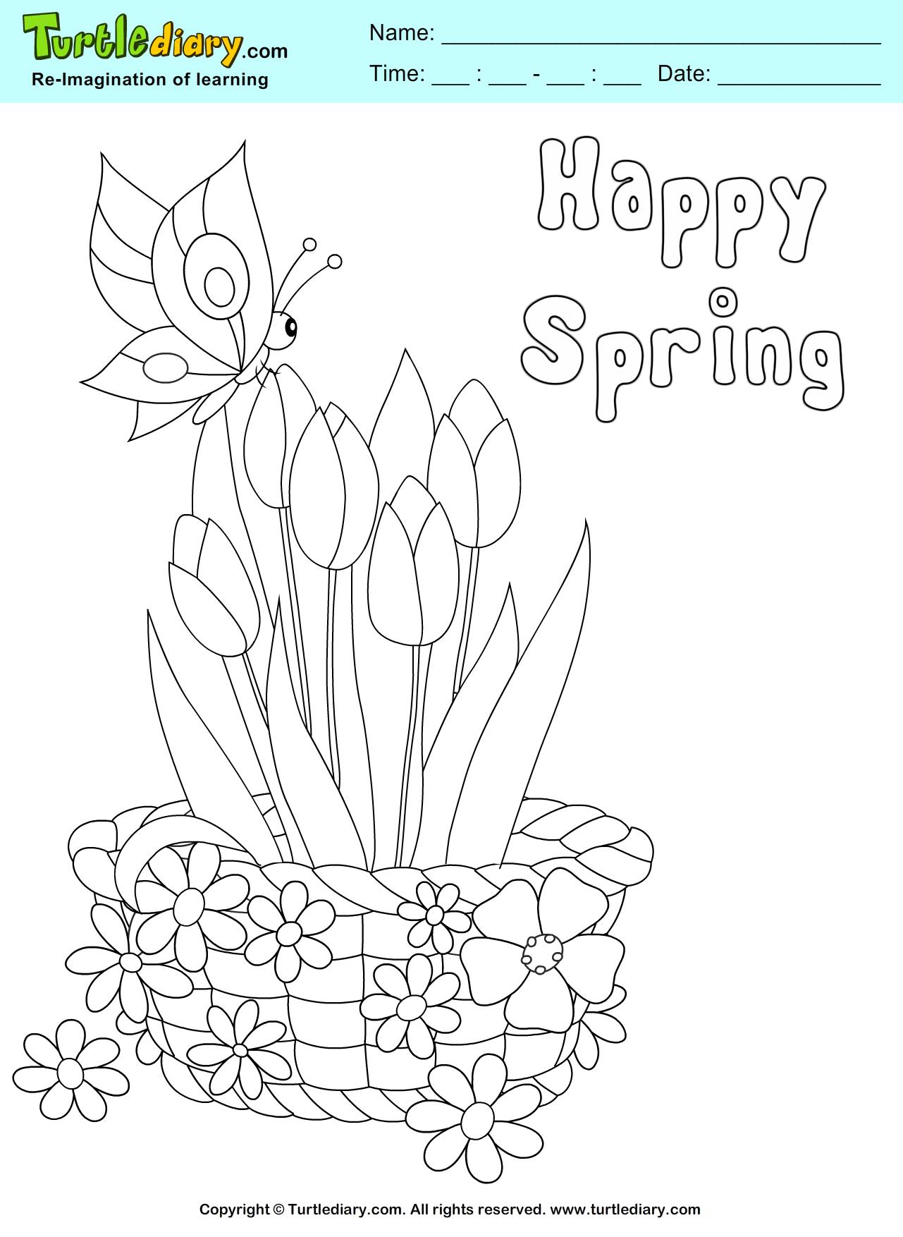 Flower Basket Coloring Sheet