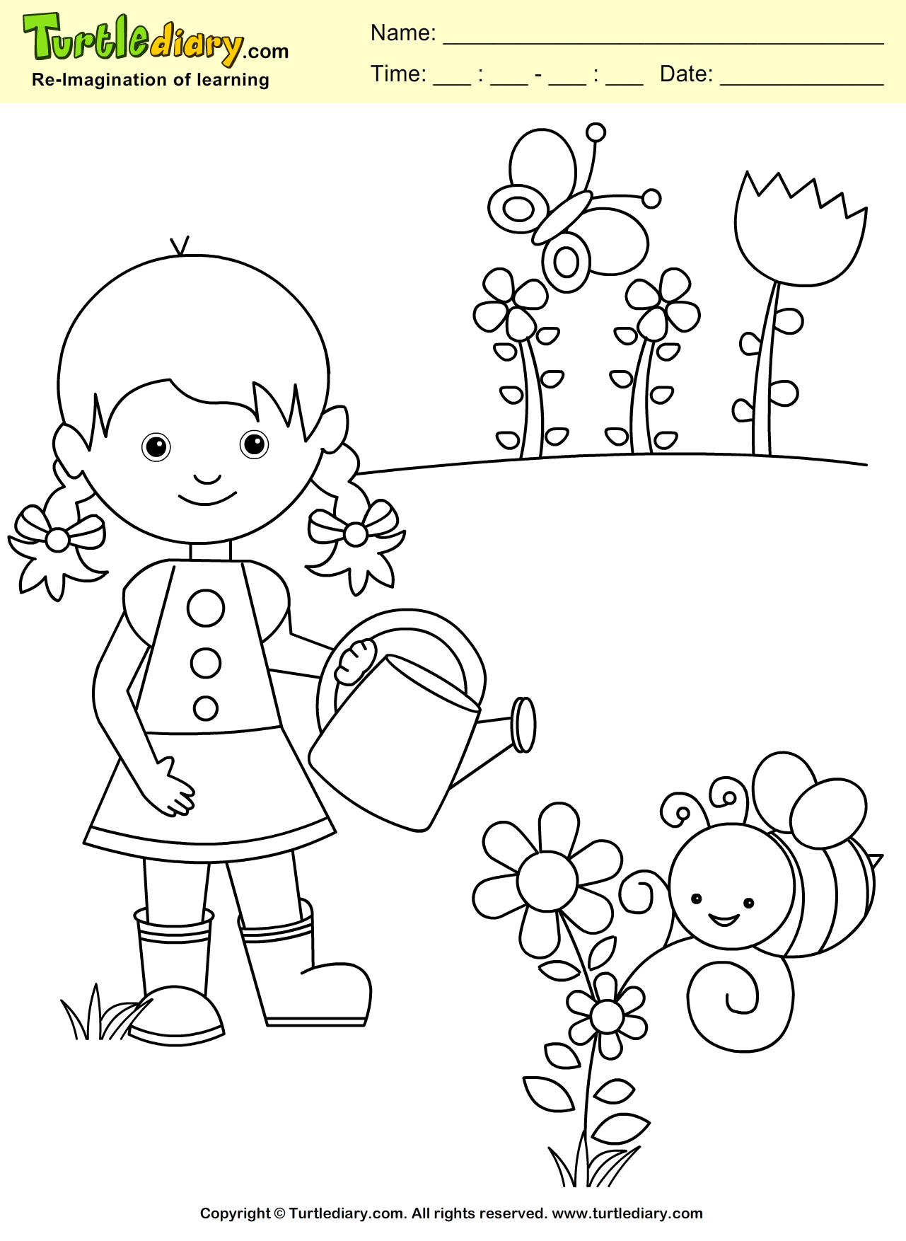 Spring Subtraction Coloring Worksheet