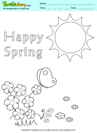 Happy Spring Coloring Sheet | Turtle Diary