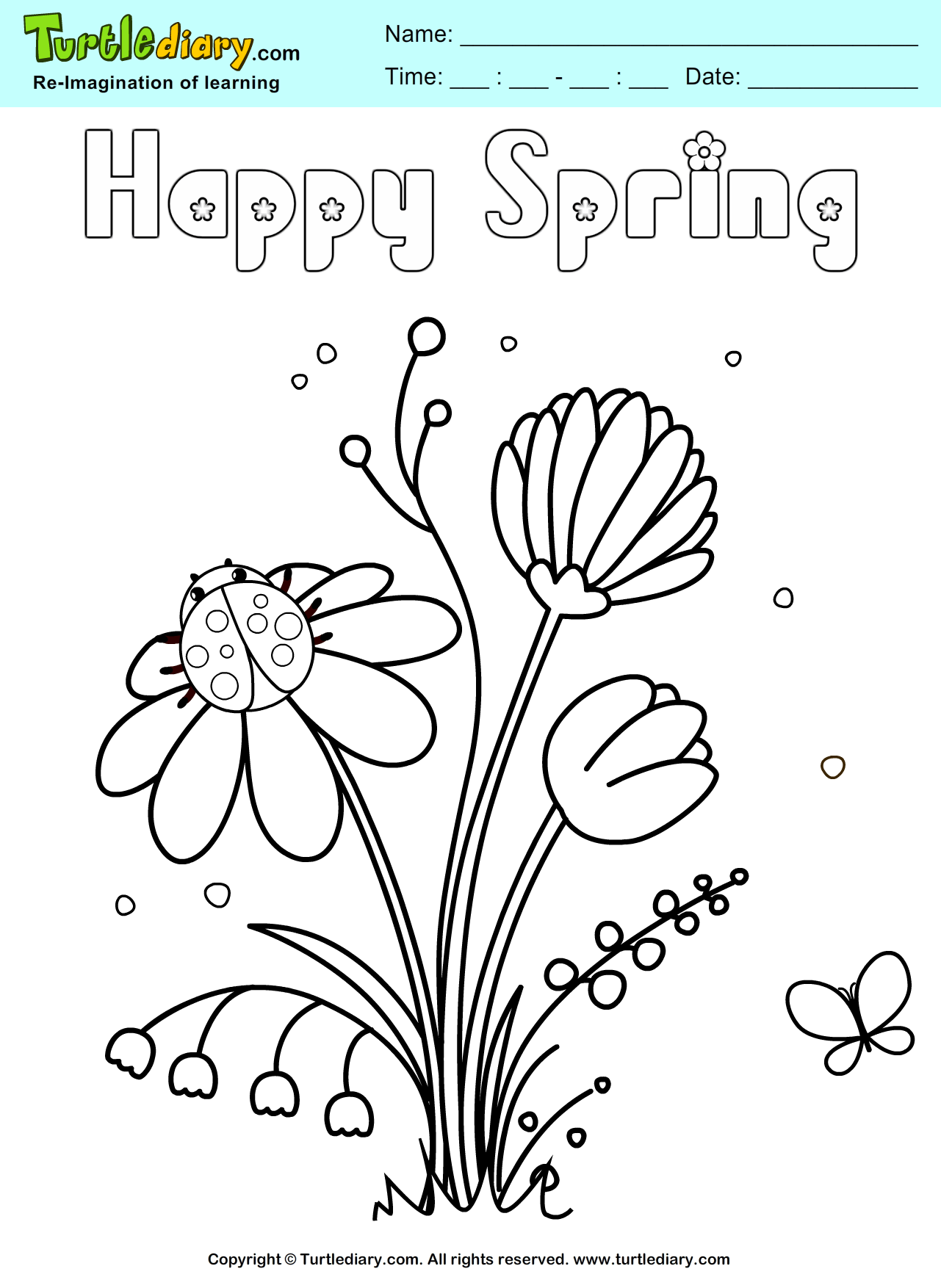 Happy Spring Flower Coloring Sheet