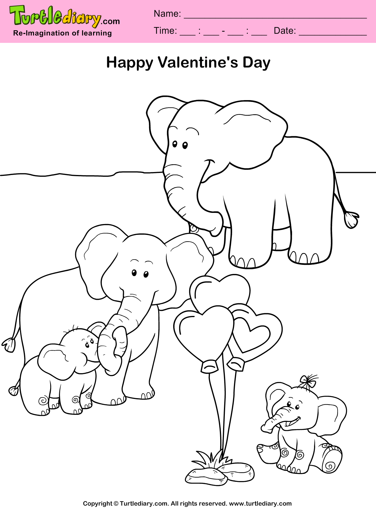 Elephants Valentine Day Coloring Sheet