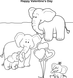 Elephants Valentine Day Coloring Sheet   Turtle Diary [ 1754 x 1281 Pixel ]