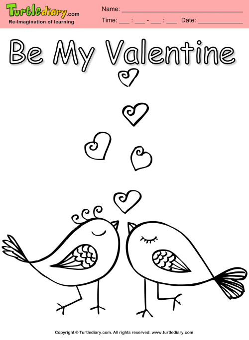 small resolution of Love Birds Coloring Sheet   Turtle Diary