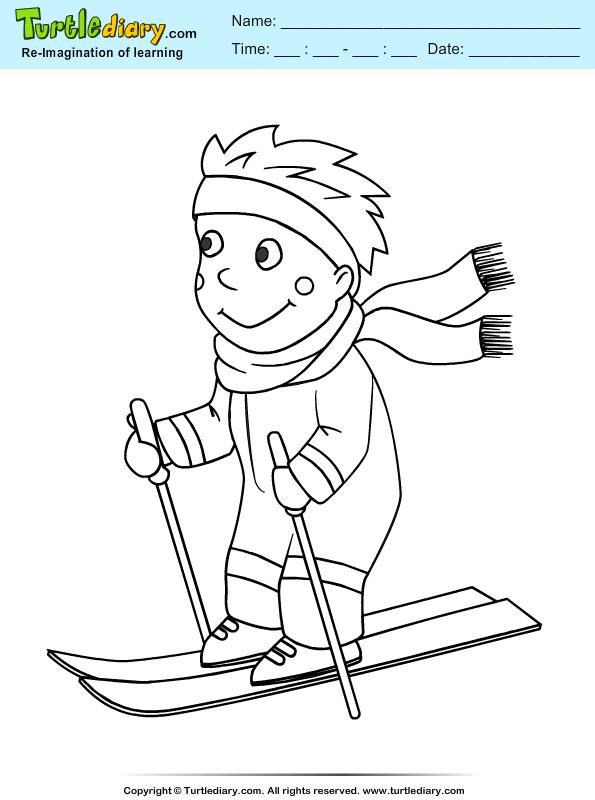 Ski Coloring Sheet Turtle Diary
