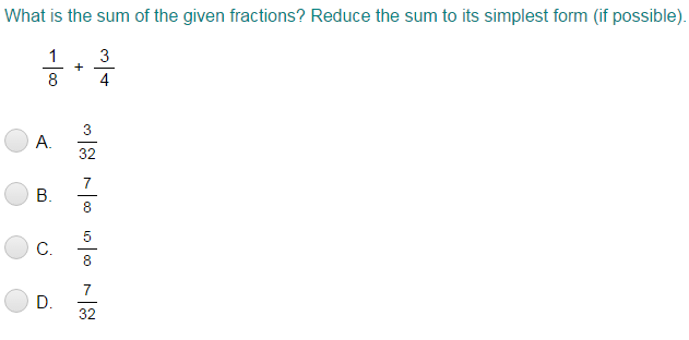 Add and Subtract Fractions with Related Denominators Quiz