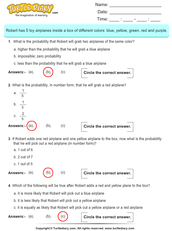 Calculate The Probability Worksheet