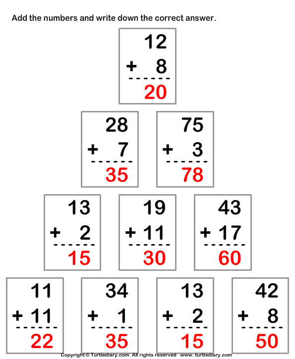 Column Addition of Numbers up to Two Digits Worksheet