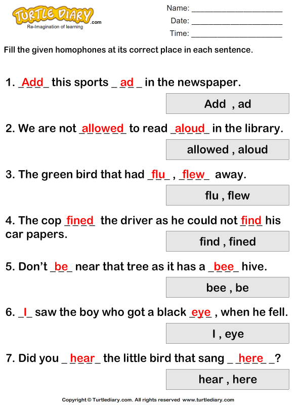 Fill In The Blanks With Homophones To Complete The