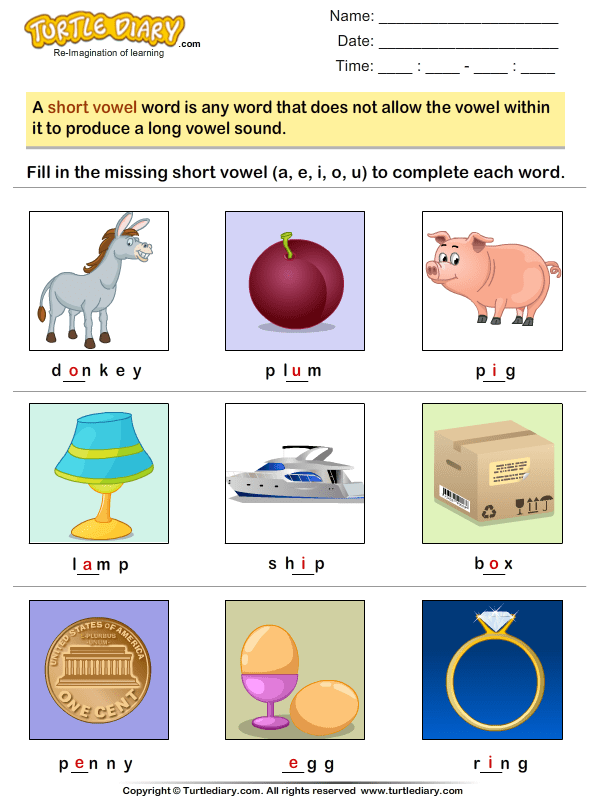Fill In The Missing Short Vowel Worksheet Turtle Diary