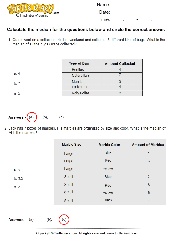 Find The Median Using Charts Worksheet