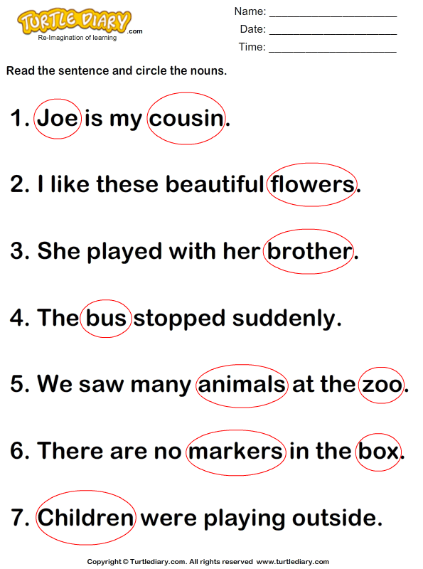 Identify And Circle Nouns In A Sentence Worksheet Turtle