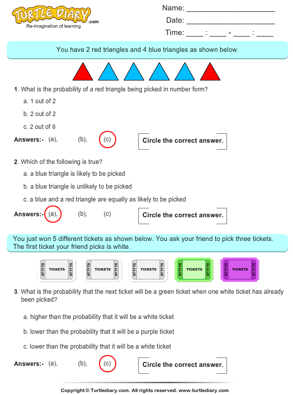 Probability On Triangles Worksheet
