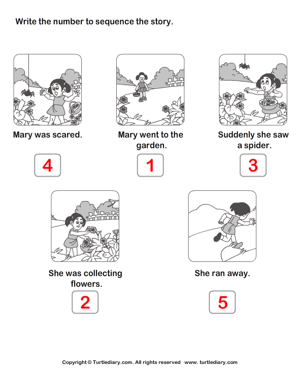 Story Sequencing Mary Went to the Garden Worksheet