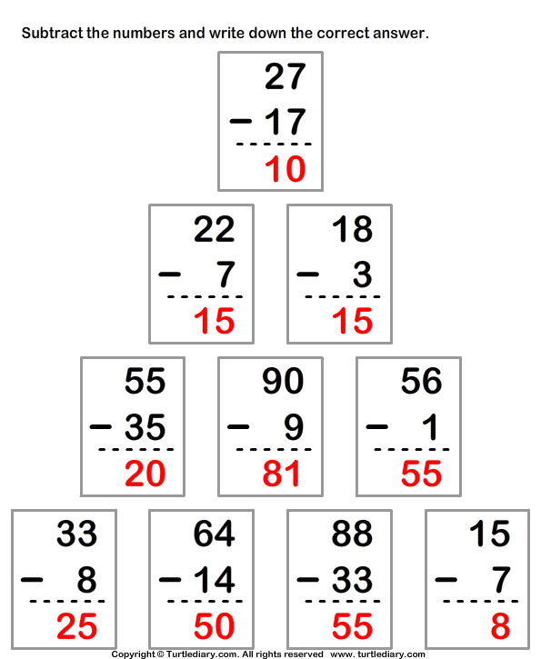Subtracting From Two Digit Number with Regrouping