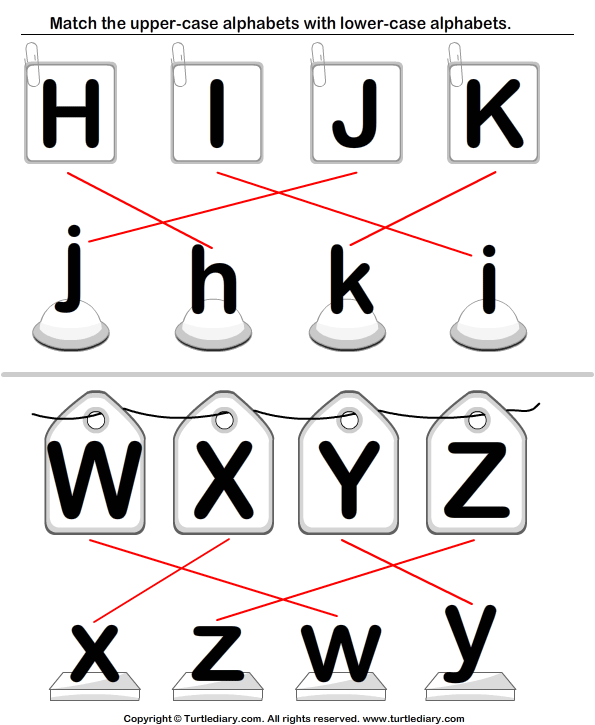 Uppercase and Lowercase Letters Matching Worksheet