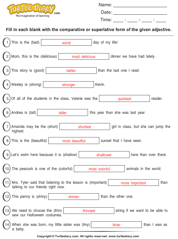 All Worksheets » Kinds Of Adjectives Worksheets With