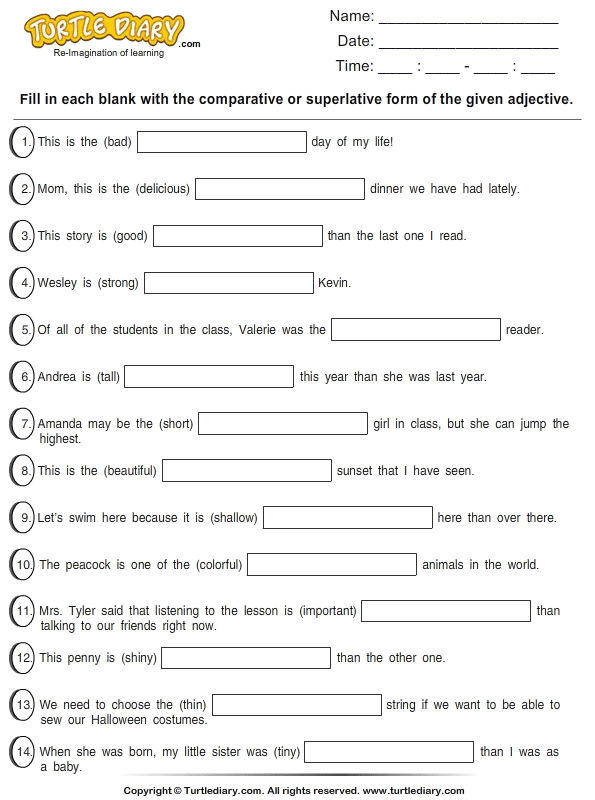 Related Pictures comparative adjectives worksheets 2nd
