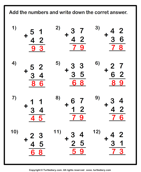 Two Digit Addition With Or Without Regrouping Worksheet 1