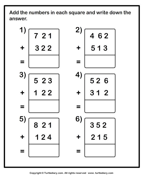 Beautiful Add Three Numbers 1 Worksheet Free Printable