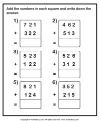 Add Two Three Digit Numbers Worksheet - Turtle Diary