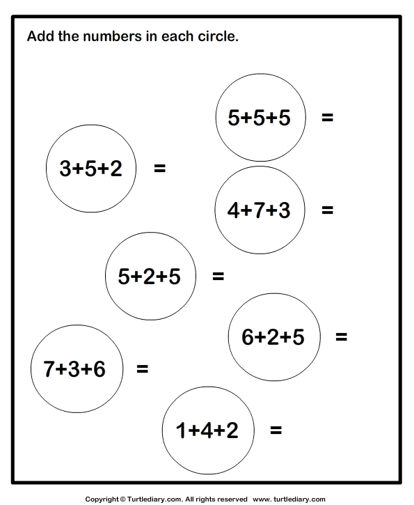 Adding Three One Digit Numbers Sums up to Twenty Worksheet