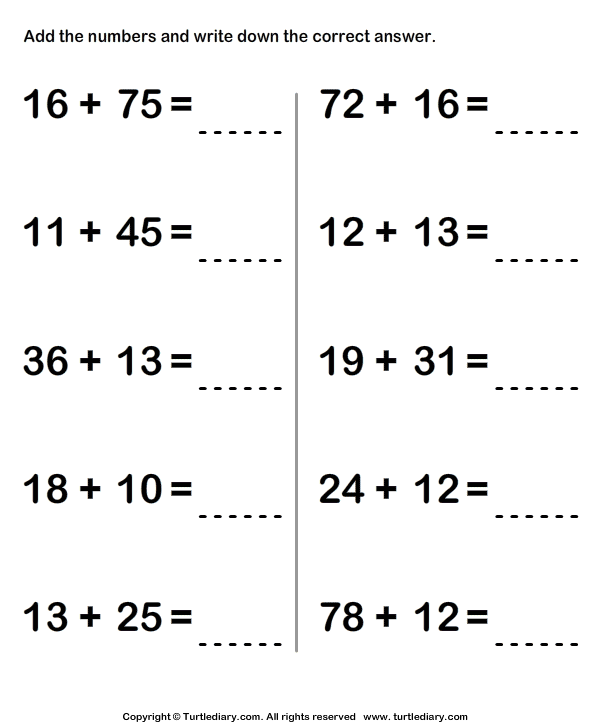Adding Two Two Digit Numbers Sums up to Hundred Worksheet