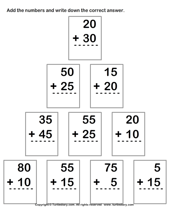 Adding Two Two Digit Numbers within Hundred Worksheet