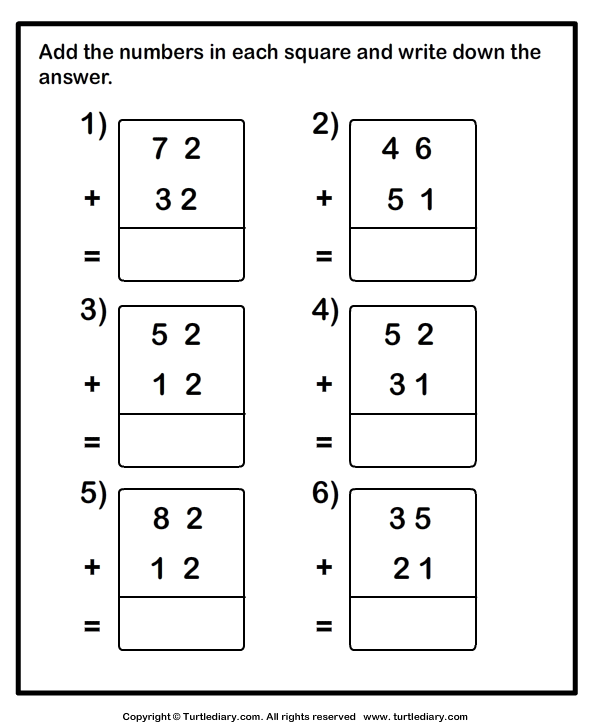 Adding Two Two Digit Numbers without Regrouping Worksheet