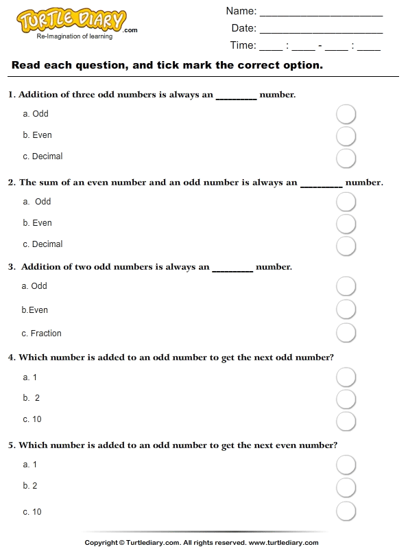 Addition With Odd Numbers Worksheet