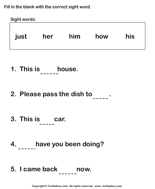 Build a Sentence using Sight Words Worksheet  Turtle Diary