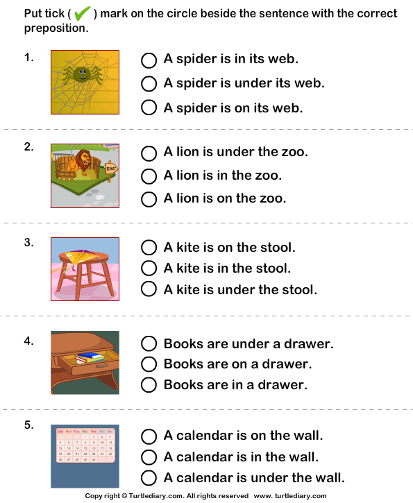 Choose The Sentence With The Correct Preposition In On And