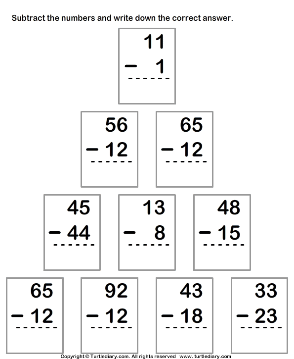 Column Subtraction From Two Digit Numbers Worksheet