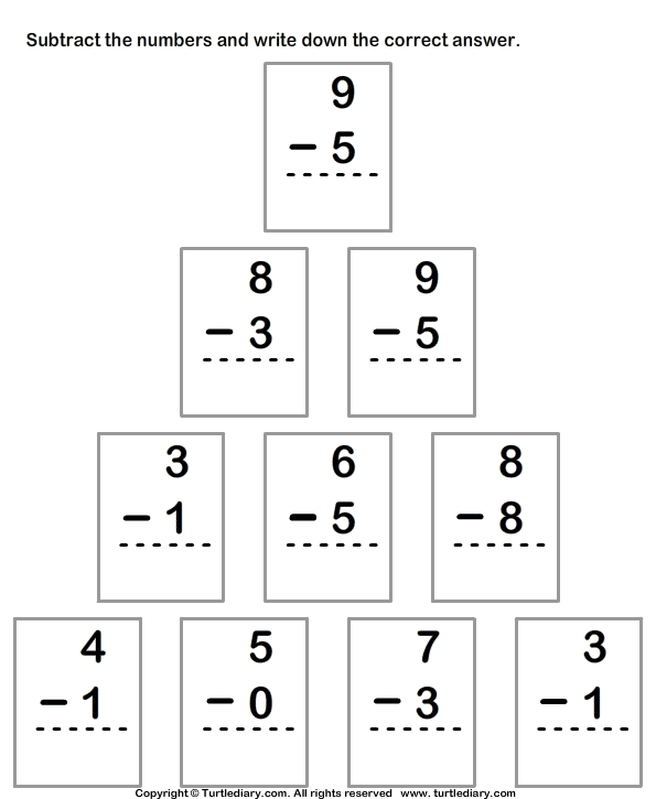 Column Subtraction with Numbers up to Ten Worksheet