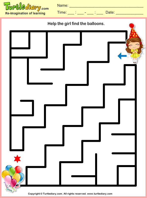 Girl and Balloon Maze Worksheet